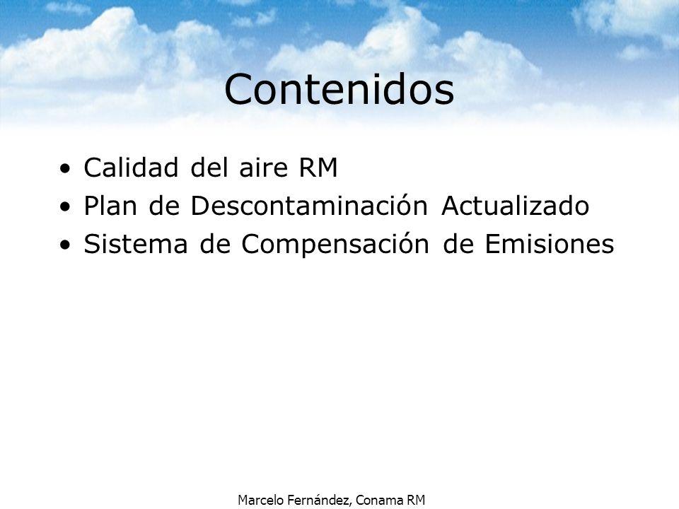 Marcelo Fernández, Conama RM AÑO 2010: Cumplimiento de norma Máximo PM10 <150 ug/m3 PM10: 1500 ton/año Metas de reducción de emisiones por sector
