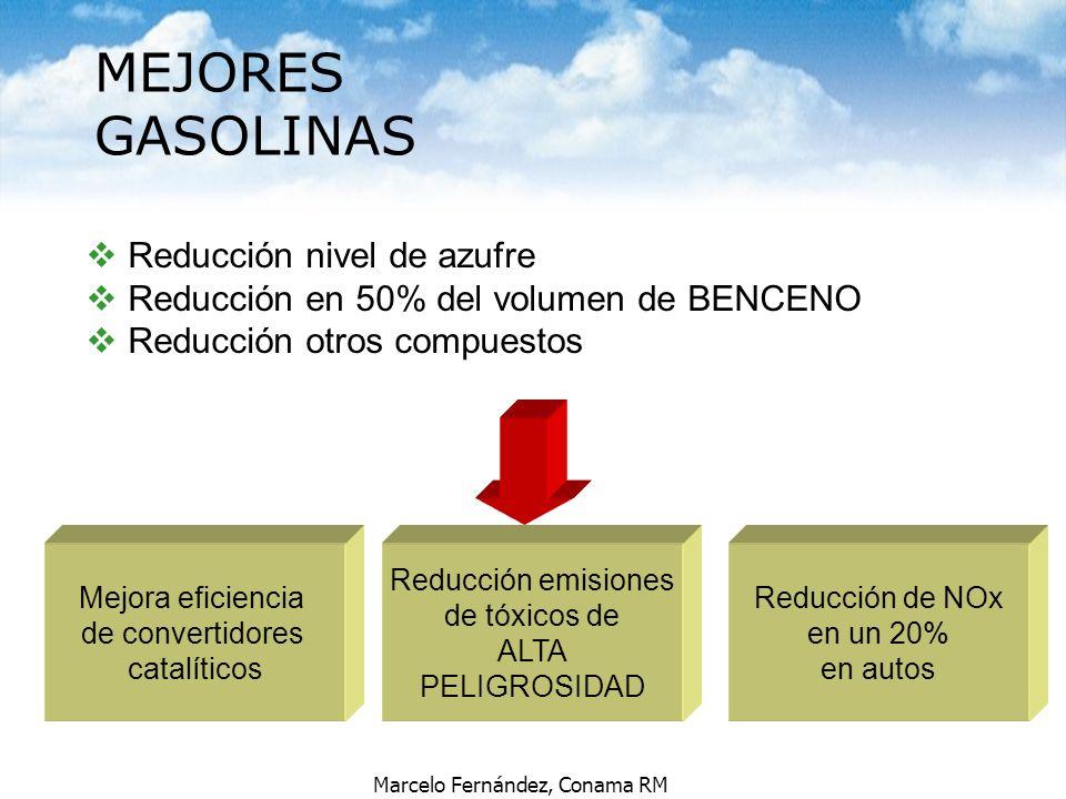 Marcelo Fernández, Conama RM v Reducción nivel de azufre v Reducción en 50% del volumen de BENCENO v Reducción otros compuestos Mejora eficiencia de c