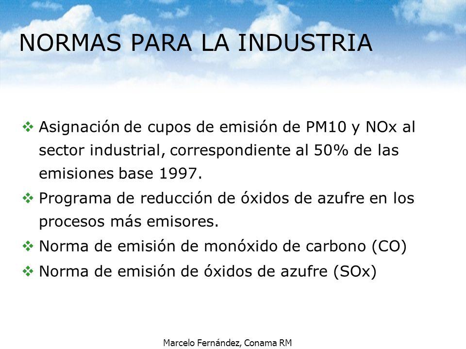 Marcelo Fernández, Conama RM vAsignación de cupos de emisión de PM10 y NOx al sector industrial, correspondiente al 50% de las emisiones base 1997. vP