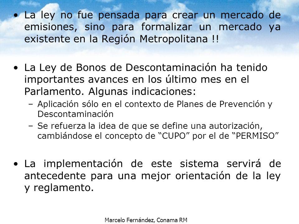 Marcelo Fernández, Conama RM La ley no fue pensada para crear un mercado de emisiones, sino para formalizar un mercado ya existente en la Región Metro