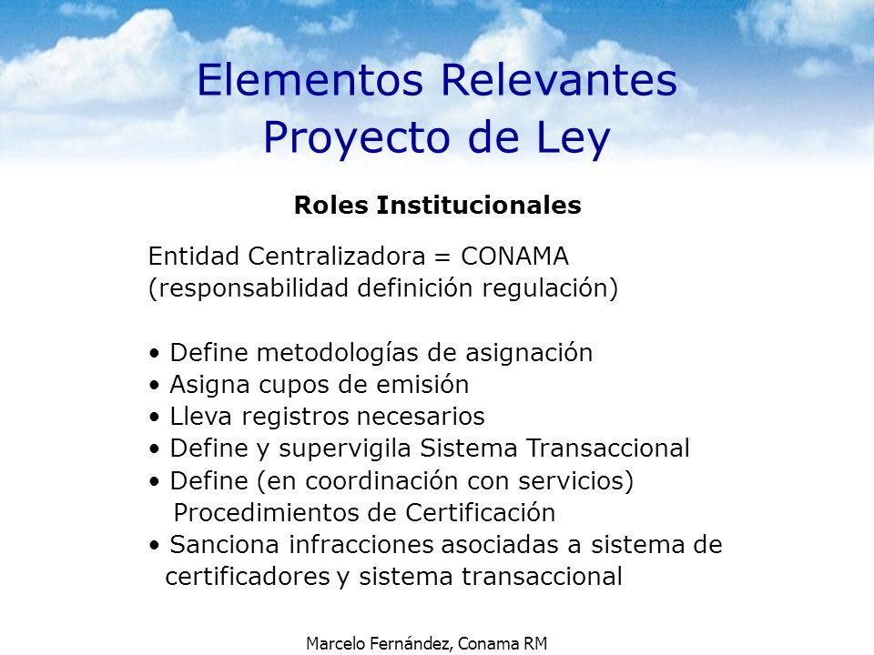 Marcelo Fernández, Conama RM Elementos Relevantes Proyecto de Ley Roles Institucionales Entidad Centralizadora = CONAMA (responsabilidad definición re