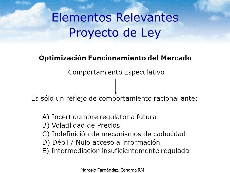 Marcelo Fernández, Conama RM Optimización Funcionamiento del Mercado Comportamiento Especulativo Es sólo un reflejo de comportamiento racional ante: A