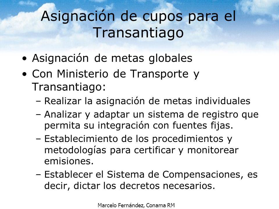 Marcelo Fernández, Conama RM Asignación de metas globales Con Ministerio de Transporte y Transantiago: –Realizar la asignación de metas individuales –