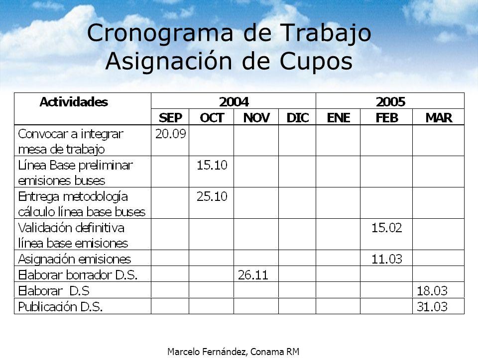 Marcelo Fernández, Conama RM Cronograma de Trabajo Asignación de Cupos