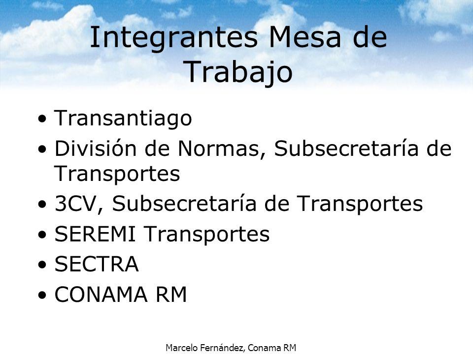 Marcelo Fernández, Conama RM Integrantes Mesa de Trabajo Transantiago División de Normas, Subsecretaría de Transportes 3CV, Subsecretaría de Transport