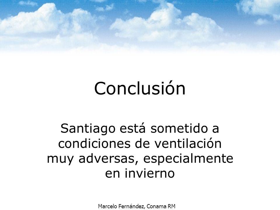 Marcelo Fernández, Conama RM Conclusión Santiago está sometido a condiciones de ventilación muy adversas, especialmente en invierno