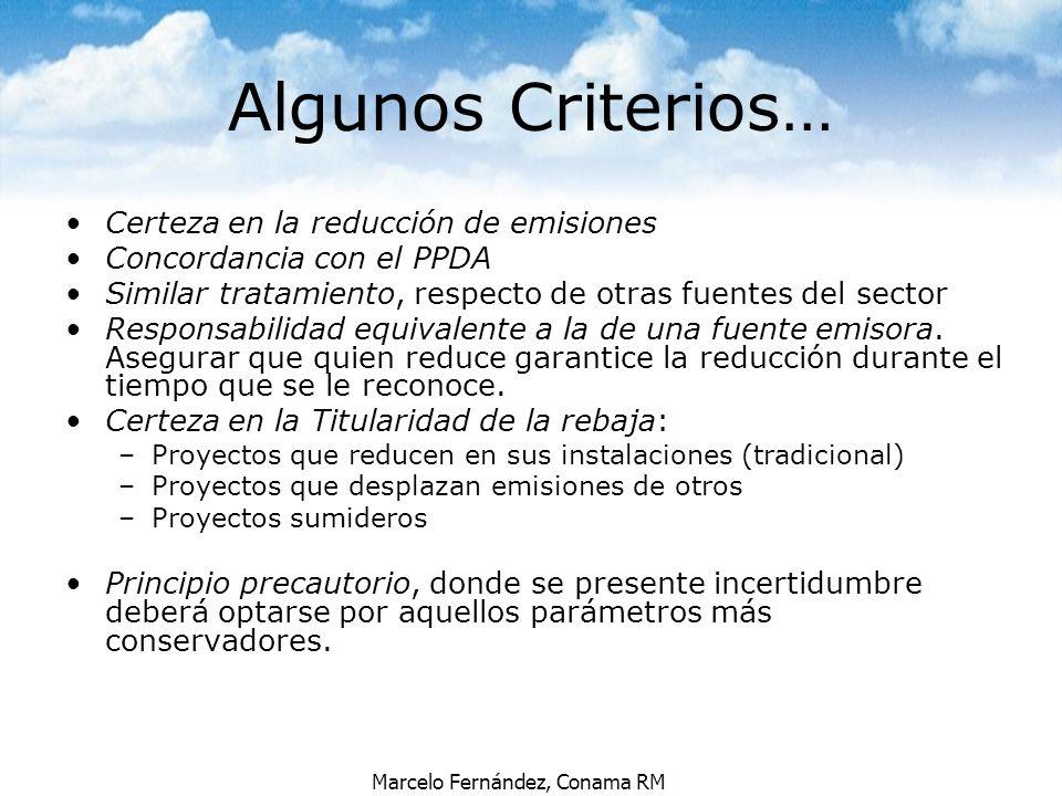 Marcelo Fernández, Conama RM Algunos Criterios… Certeza en la reducción de emisiones Concordancia con el PPDA Similar tratamiento, respecto de otras f