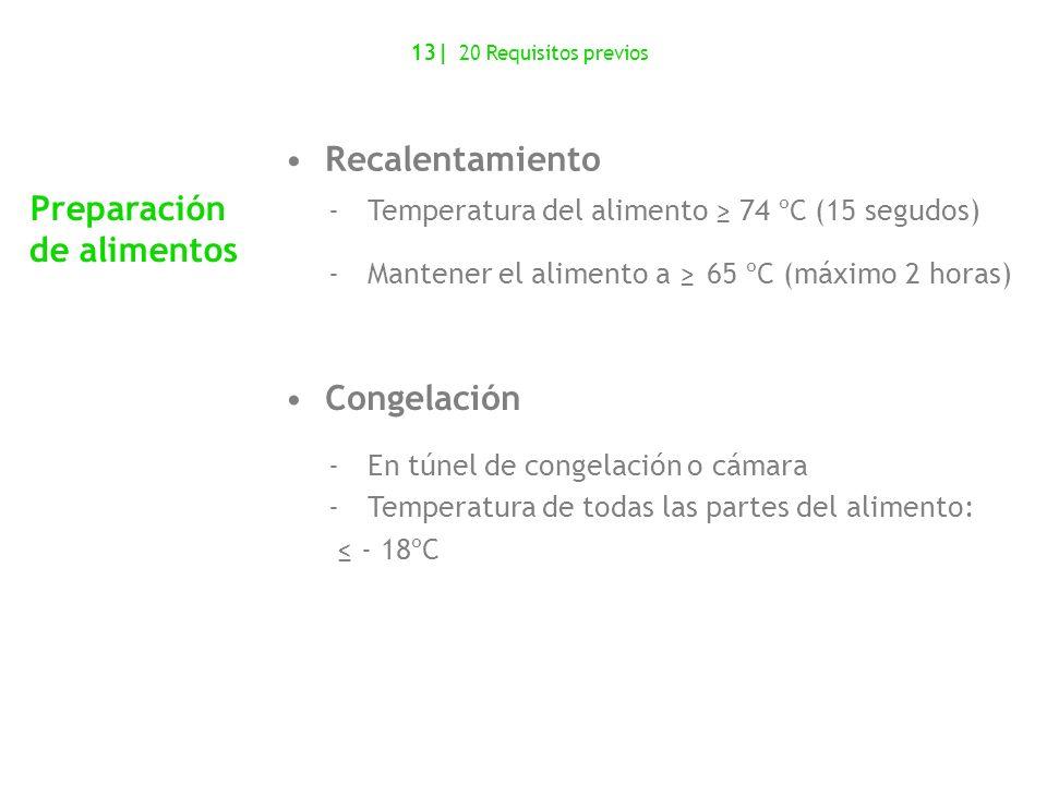 Recalentamiento -Temperatura del alimento 74 ºC (15 segudos) -Mantener el alimento a 65 ºC (máximo 2 horas) Congelación -En túnel de congelación o cám