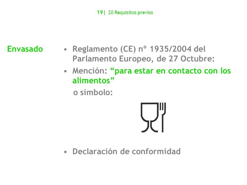 Reglamento (CE) nº 1935/2004 del Parlamento Europeo, de 27 Octubre: Mención: para estar en contacto con los alimentos o símbolo: Declaración de confor