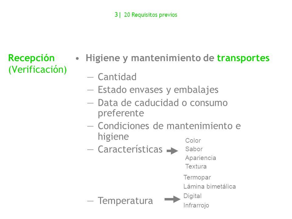 Cantidad Estado envases y embalajes Data de caducidad o consumo preferente Condiciones de mantenimiento e higiene Características Temperatura 3  20 Re