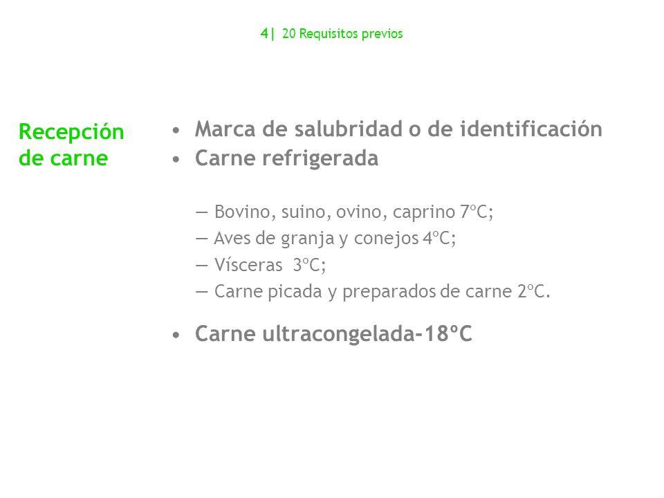 Marca de salubridad o de identificación Carne refrigerada Carne ultracongelada-18ºC Recepción de carne Bovino, suino, ovino, caprino 7ºC; Aves de gran