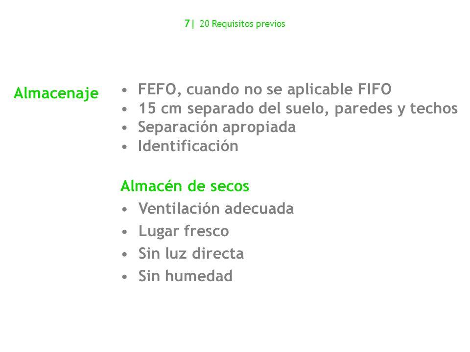 Almacenaje FEFO, cuando no se aplicable FIFO 15 cm separado del suelo, paredes y techos Separación apropiada Identificación Almacén de secos Ventilaci