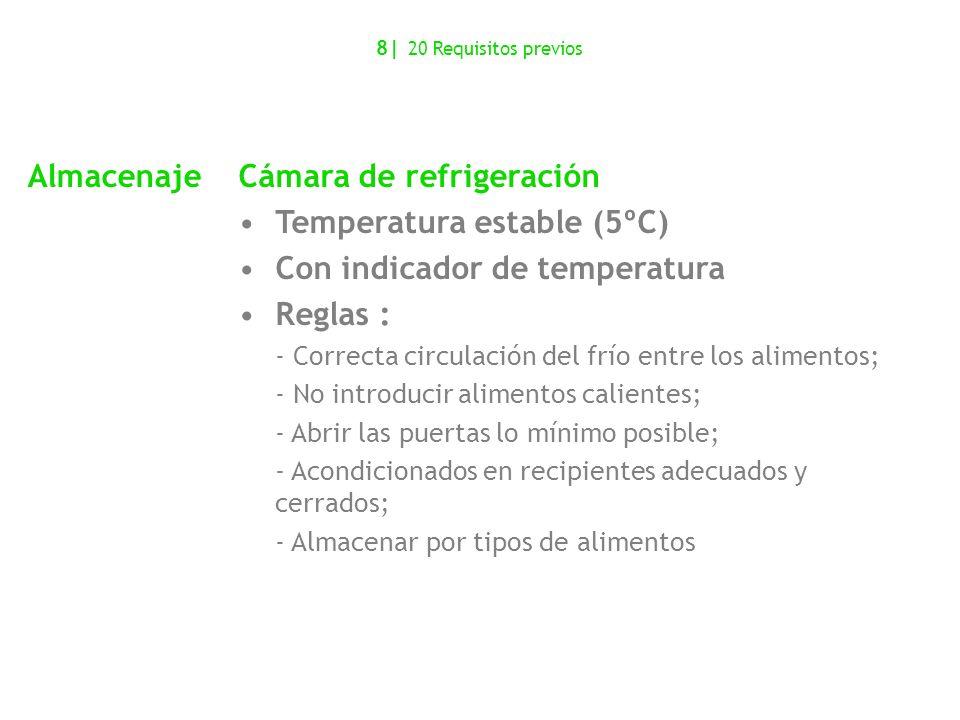 AlmacenajeCámara de refrigeración Temperatura estable (5ºC) Con indicador de temperatura Reglas : - Correcta circulación del frío entre los alimentos;