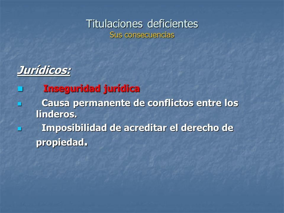 Titulaciones deficientes Sus consecuencias Jurídicos: Inseguridad jurídica Inseguridad jurídica Causa permanente de conflictos entre los linderos.