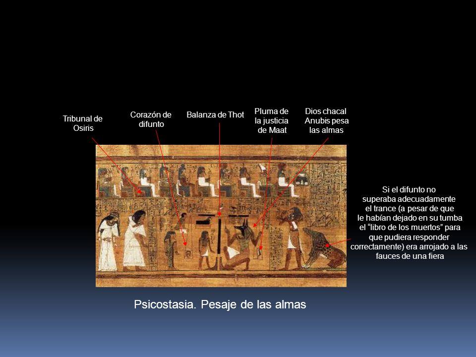 Psicostasia. Pesaje de las almas Balanza de Thot Pluma de la justicia de Maat Corazón de difunto Tribunal de Osiris Dios chacal Anubis pesa las almas