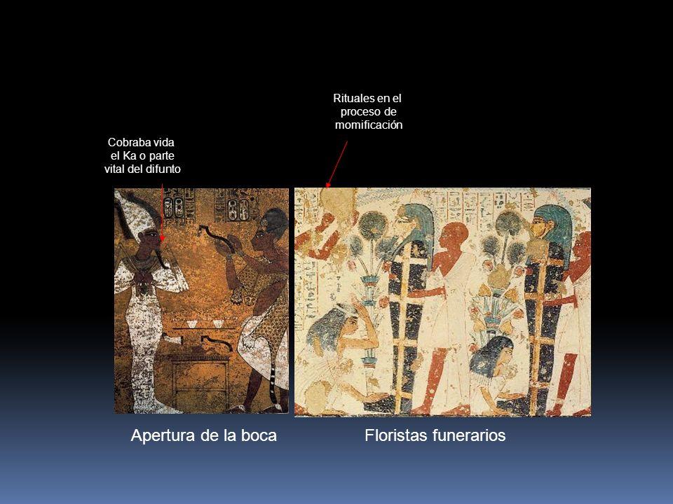 Apertura de la boca Rituales en el proceso de momificación Floristas funerarios Cobraba vida el Ka o parte vital del difunto