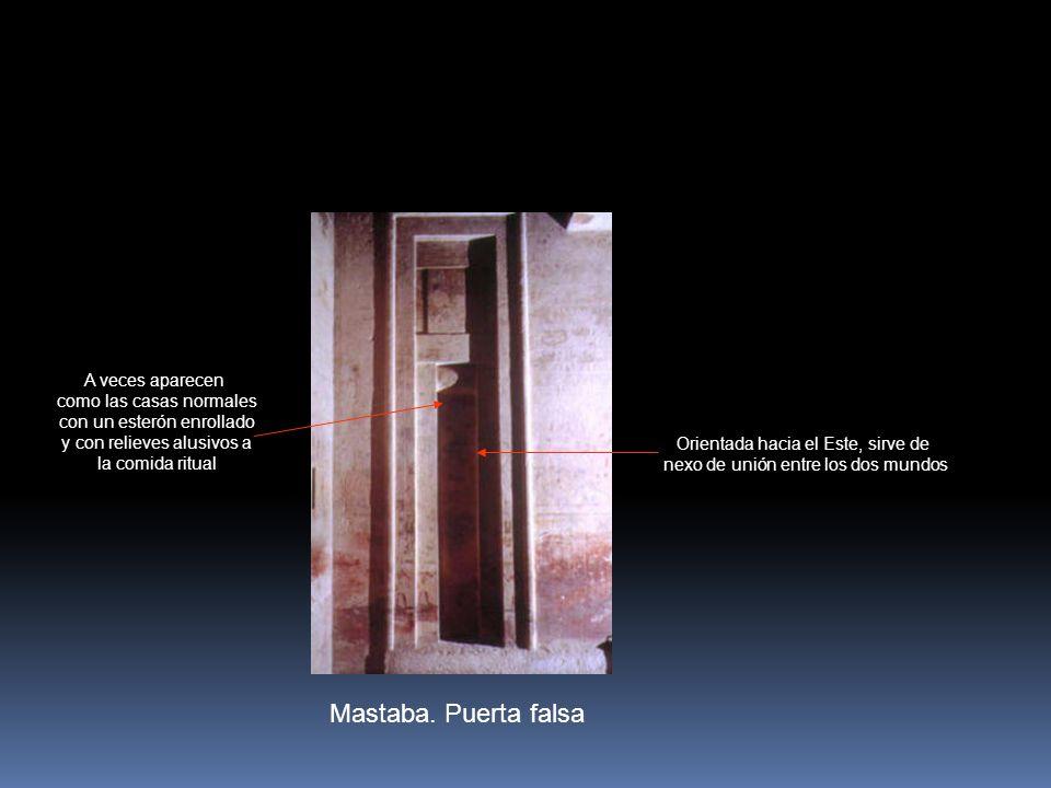 Mastaba. Puerta falsa Orientada hacia el Este, sirve de nexo de unión entre los dos mundos A veces aparecen como las casas normales con un esterón enr