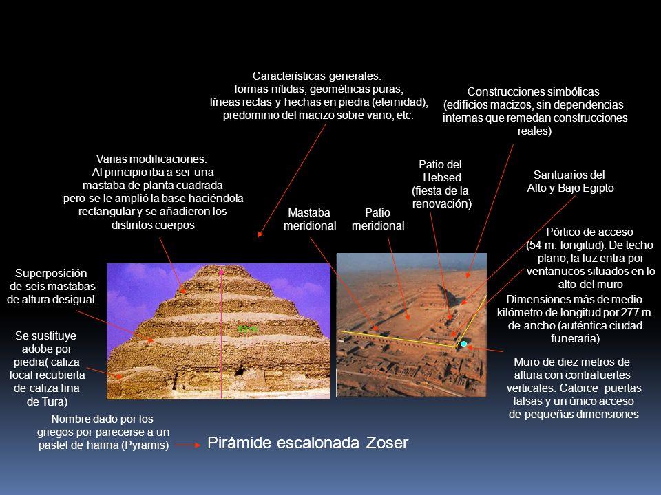 Pirámide escalonada Zoser Se sustituye adobe por piedra( caliza local recubierta de caliza fina de Tura) Superposición de seis mastabas de altura desigual Dimensiones más de medio kilómetro de longitud por 277 m.
