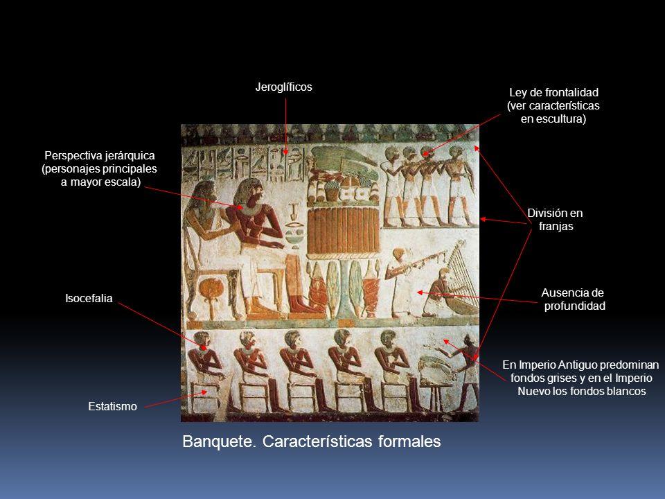 Banquete. Características formales Ley de frontalidad (ver características en escultura) Perspectiva jerárquica (personajes principales a mayor escala