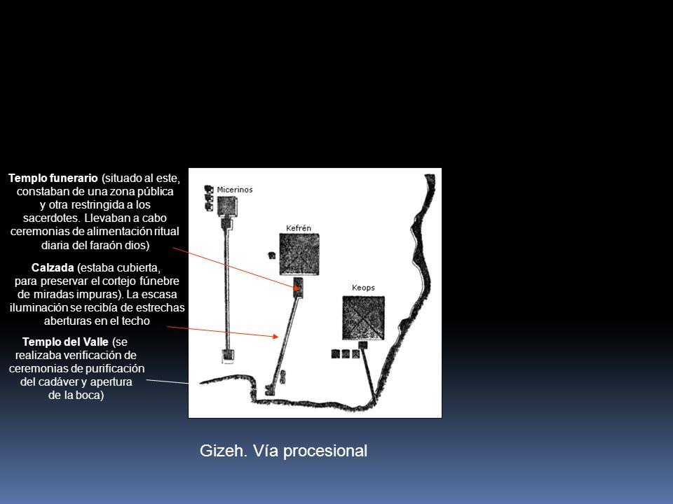 Gizeh. Vía procesional Templo del Valle (se realizaba verificación de ceremonias de purificación del cadáver y apertura de la boca) Calzada (estaba cu
