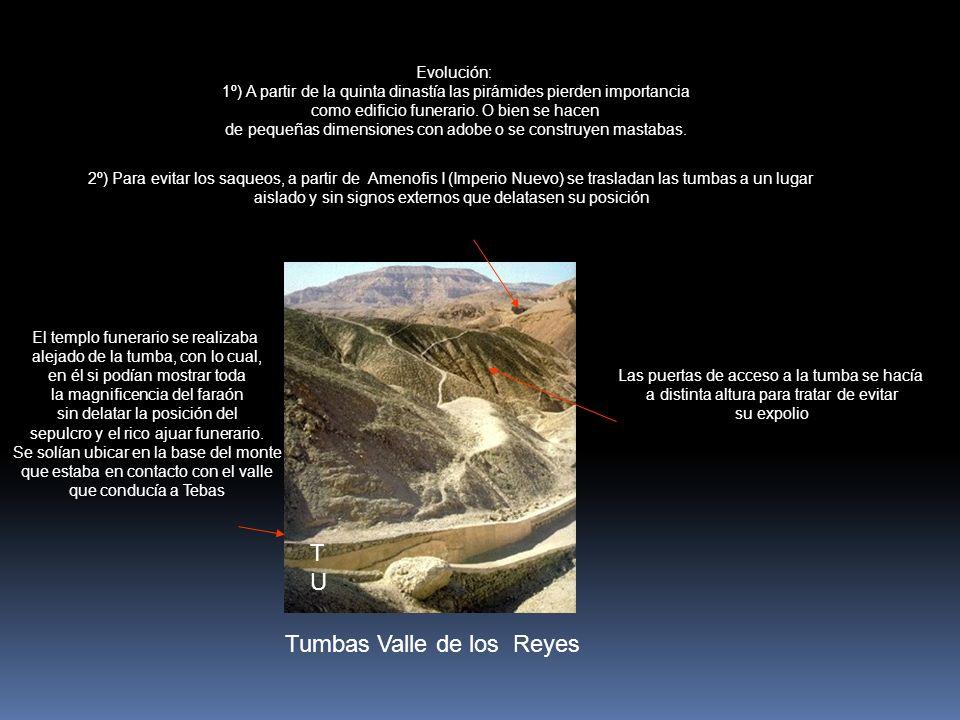 TUTU Tumbas Valle de los Reyes Evolución: 1º) A partir de la quinta dinastía las pirámides pierden importancia como edificio funerario. O bien se hace