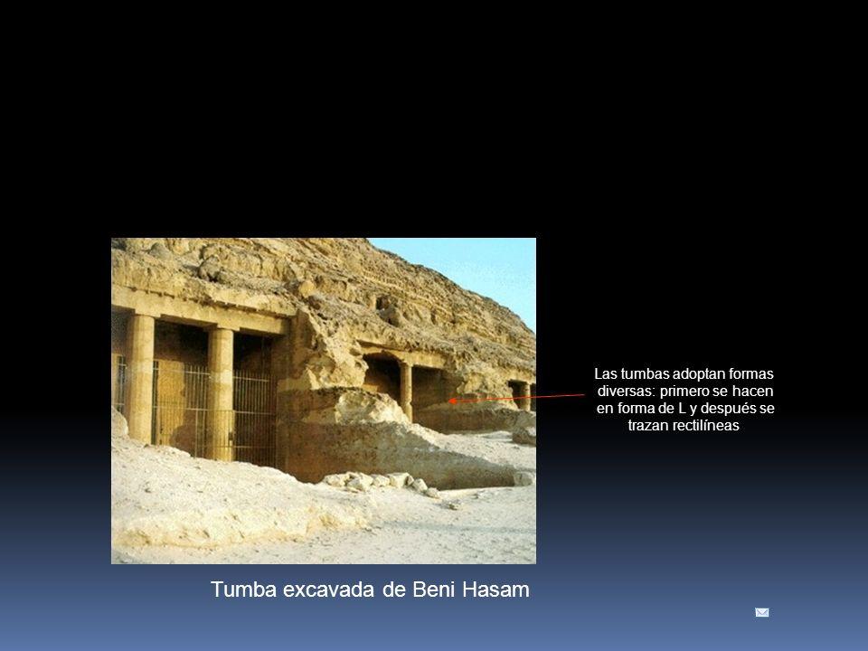 Tumba excavada de Beni Hasam Las tumbas adoptan formas diversas: primero se hacen en forma de L y después se trazan rectilíneas
