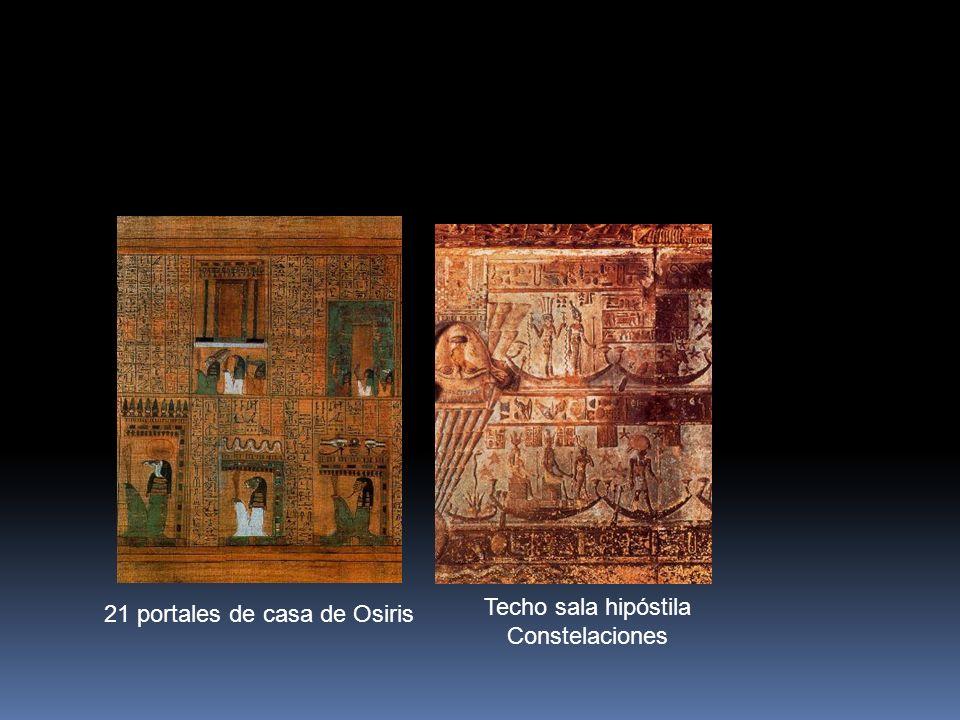 21 portales de casa de Osiris Techo sala hipóstila Constelaciones