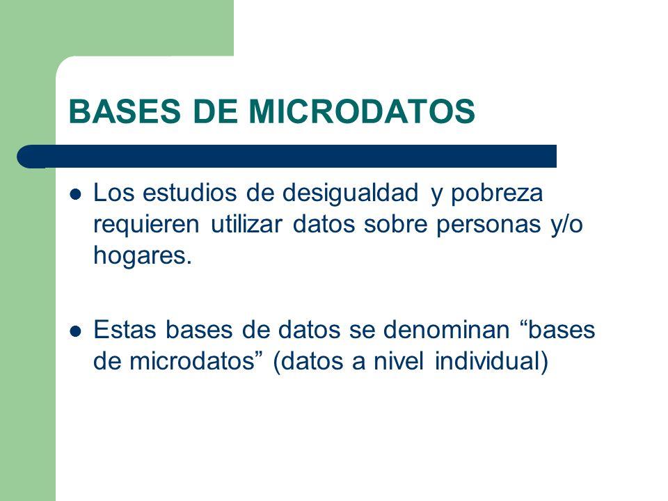 BASES DE MICRODATOS Los estudios de desigualdad y pobreza requieren utilizar datos sobre personas y/o hogares. Estas bases de datos se denominan bases