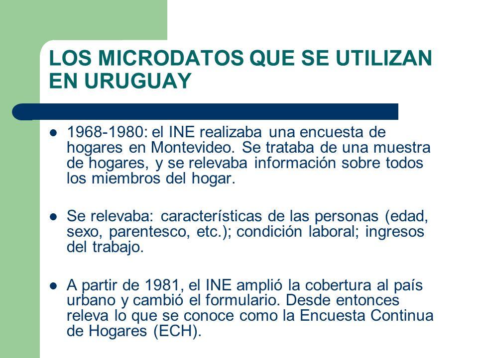 LOS MICRODATOS QUE SE UTILIZAN EN URUGUAY 1968-1980: el INE realizaba una encuesta de hogares en Montevideo. Se trataba de una muestra de hogares, y s