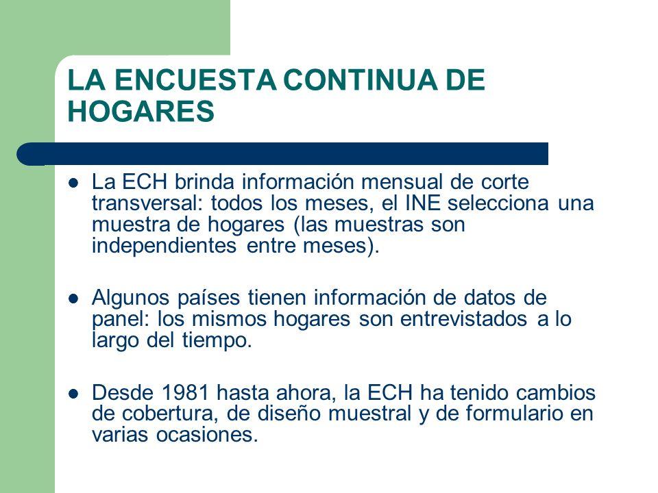 LA ENCUESTA CONTINUA DE HOGARES La ECH brinda información mensual de corte transversal: todos los meses, el INE selecciona una muestra de hogares (las