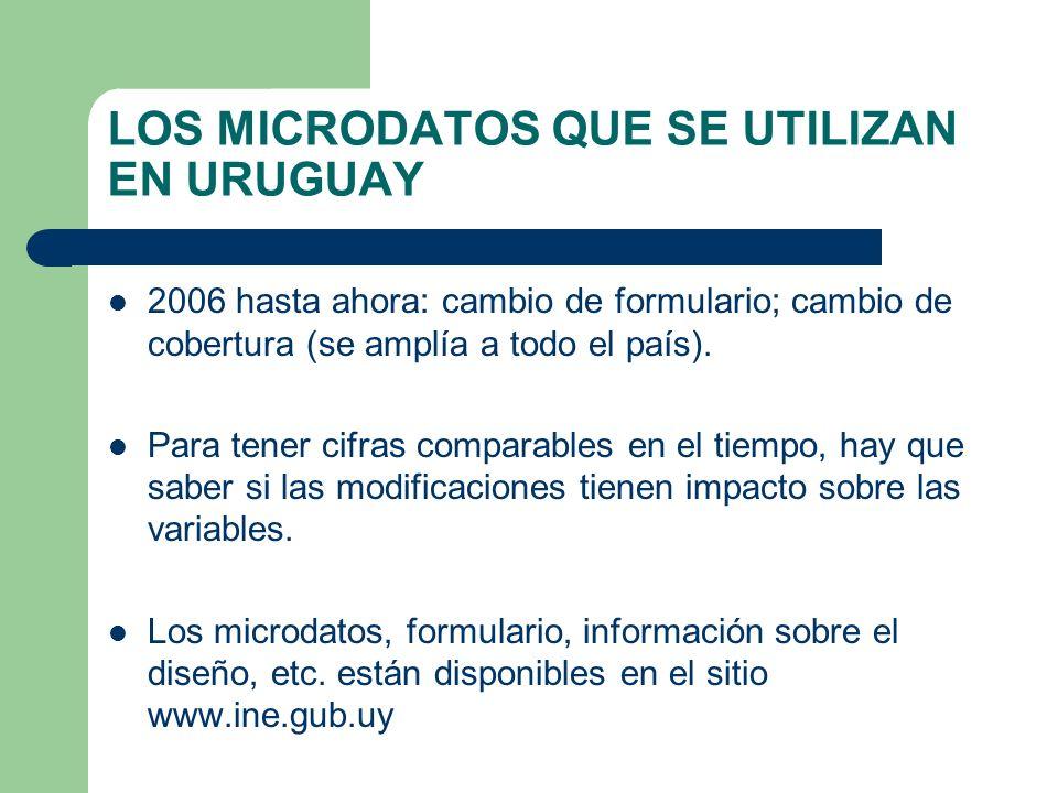 LOS MICRODATOS QUE SE UTILIZAN EN URUGUAY 2006 hasta ahora: cambio de formulario; cambio de cobertura (se amplía a todo el país). Para tener cifras co