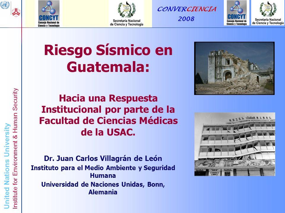 United Nations University Institute for Environment & Human Security Riesgo Sísmico en Guatemala: Una Respuesta Institucional de la Facultad de Ciencias Médicas de la USAC CONVERCIENCIA 2008 VII Daños a)La mayoría de las personas se asustan y tratan de correr hacia afuera.
