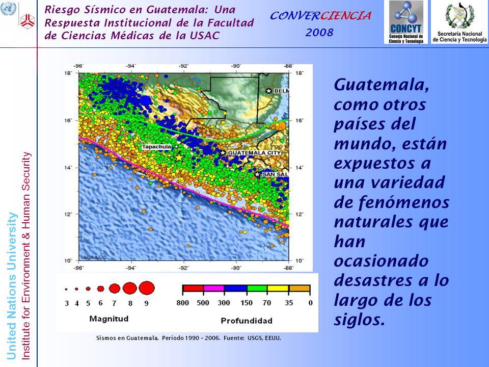United Nations University Institute for Environment & Human Security Riesgo Sísmico en Guatemala: Una Respuesta Institucional de la Facultad de Ciencias Médicas de la USAC CONVERCIENCIA 2008 Muchas gracias por su atención