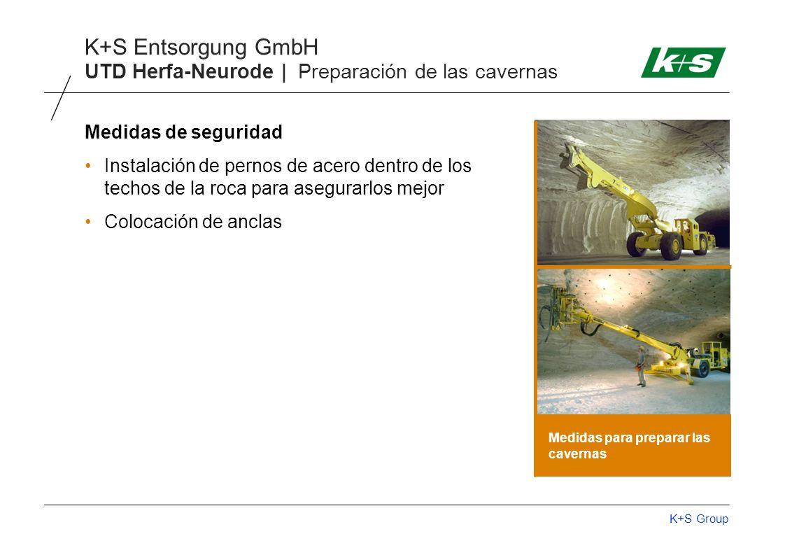 K+S Group K+S Entsorgung GmbH UTD Herfa-Neurode | Preparación de las cavernas Medidas de seguridad Instalación de pernos de acero dentro de los techos de la roca para asegurarlos mejor Colocación de anclas Medidas para preparar las cavernas