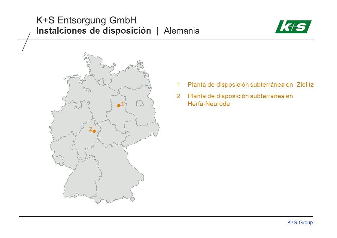 K+S Group K+S Entsorgung GmbH Instalciones de disposición | Alemania 1Planta de disposición subterránea en Zielitz 2Planta de disposición subterránea en Herfa-Neurode
