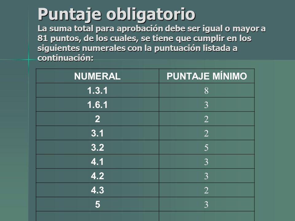 Puntaje obligatorio La suma total para aprobación debe ser igual o mayor a 81 puntos, de los cuales, se tiene que cumplir en los siguientes numerales con la puntuación listada a continuación: NUMERALPUNTAJE MÍNIMO 1.3.1 8 1.6.1 3 2 2 3.1 2 3.2 5 4.1 3 4.2 3 4.3 2 5 3