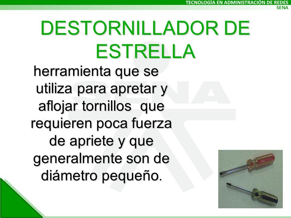 DESTORNILLADOR DE ESTRELLA herramienta que se utiliza para apretar y aflojar tornillos que requieren poca fuerza de apriete y que generalmente son de diámetro pequeño.