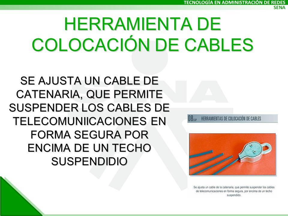 HERRAMIENTA DE COLOCACIÓN DE CABLES SE AJUSTA UN CABLE DE CATENARIA, QUE PERMITE SUSPENDER LOS CABLES DE TELECOMUNIICACIONES EN FORMA SEGURA POR ENCIMA DE UN TECHO SUSPENDIDIO