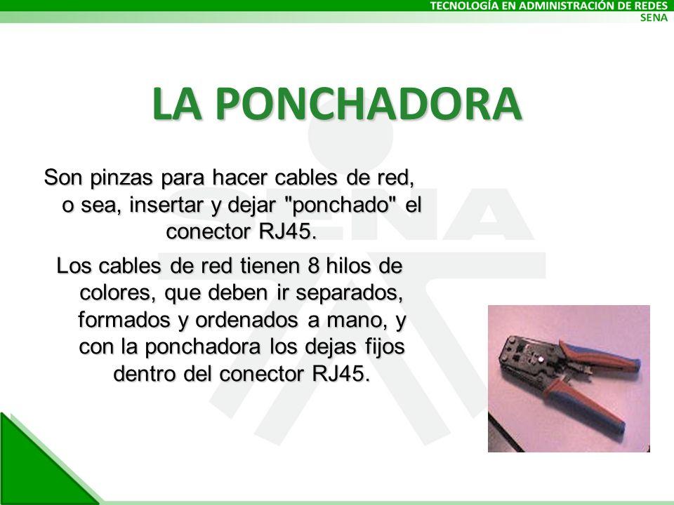 LA PONCHADORA Son pinzas para hacer cables de red, o sea, insertar y dejar ponchado el conector RJ45.