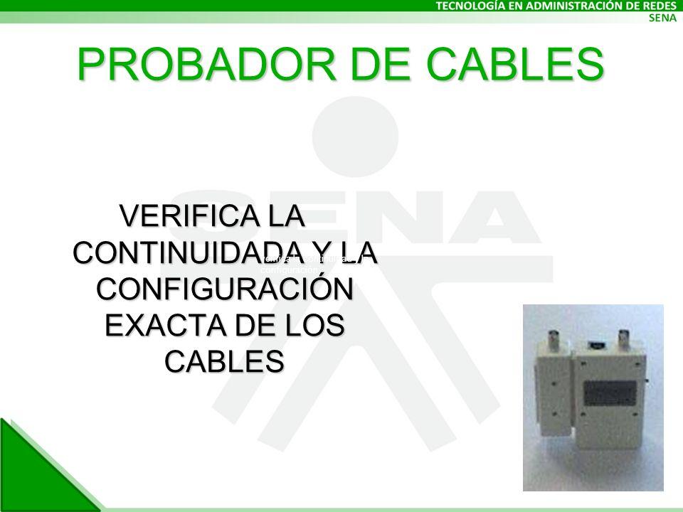 VERIFICA LA CONTINUIDADA Y LA CONFIGURACIÓN EXACTA DE LOS CABLES verifica la continuidad y la configuración PROBADOR DE CABLES