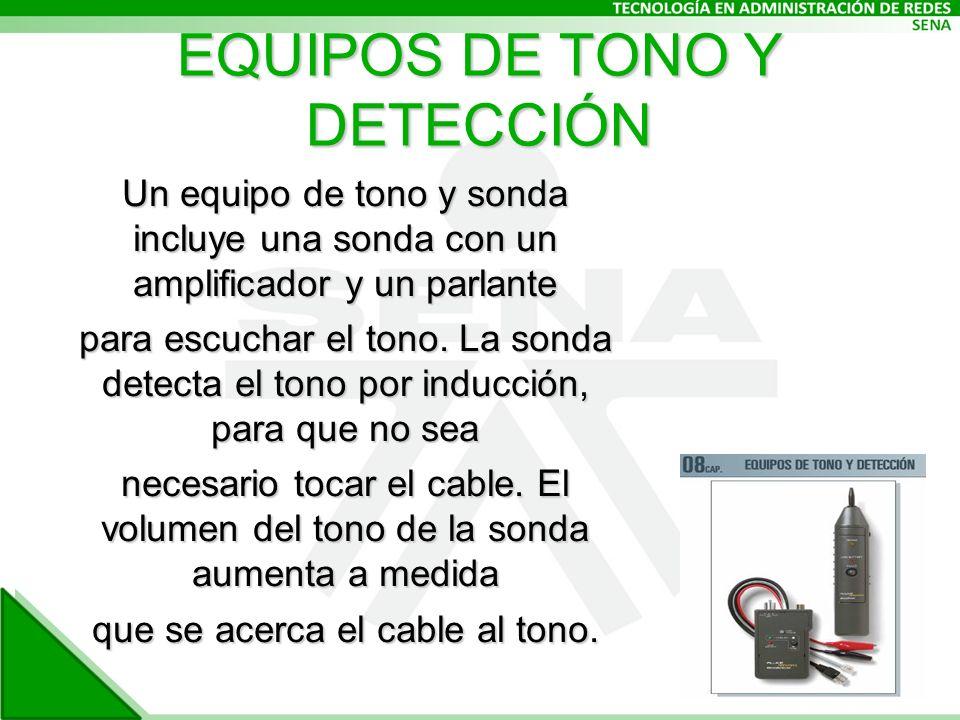EQUIPOS DE TONO Y DETECCIÓN Un equipo de tono y sonda incluye una sonda con un amplificador y un parlante para escuchar el tono.