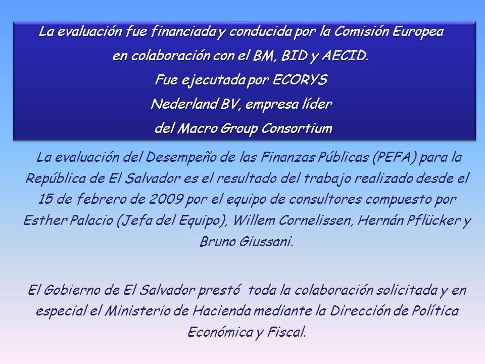 La evaluación del Desempeño de las Finanzas Públicas (PEFA) para la República de El Salvador es el resultado del trabajo realizado desde el 15 de febrero de 2009 por el equipo de consultores compuesto por Esther Palacio (Jefa del Equipo), Willem Cornelissen, Hernán Pflücker y Bruno Giussani.