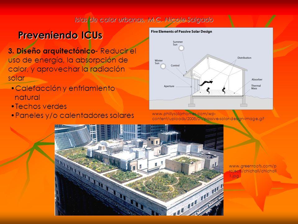 Islas de calor urbanas, M.C. Nicole Salgado Preveniendo ICUs 3. Diseño arquitectónico - Reducir el uso de energía, la absorpción de calor, y aprovecha