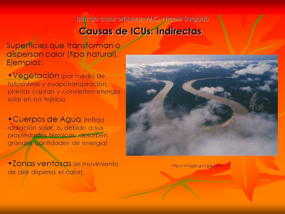 Islas de calor urbanas, M.C. Nicole Salgado Superficies que transforman o dispersan calor (tipo natural). Ejemplos: Causas de ICUs: Indirectas Vegetac