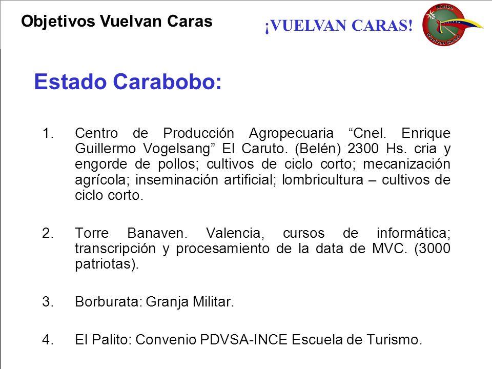 ¡VUELVAN CARAS! 1.Centro de Producción Agropecuaria Cnel. Enrique Guillermo Vogelsang El Caruto. (Belén) 2300 Hs. cria y engorde de pollos; cultivos d