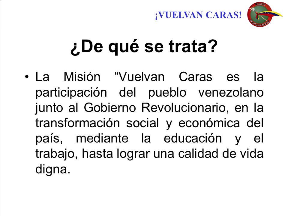 ¡VUELVAN CARAS! ¿De qué se trata? La Misión Vuelvan Caras es la participación del pueblo venezolano junto al Gobierno Revolucionario, en la transforma