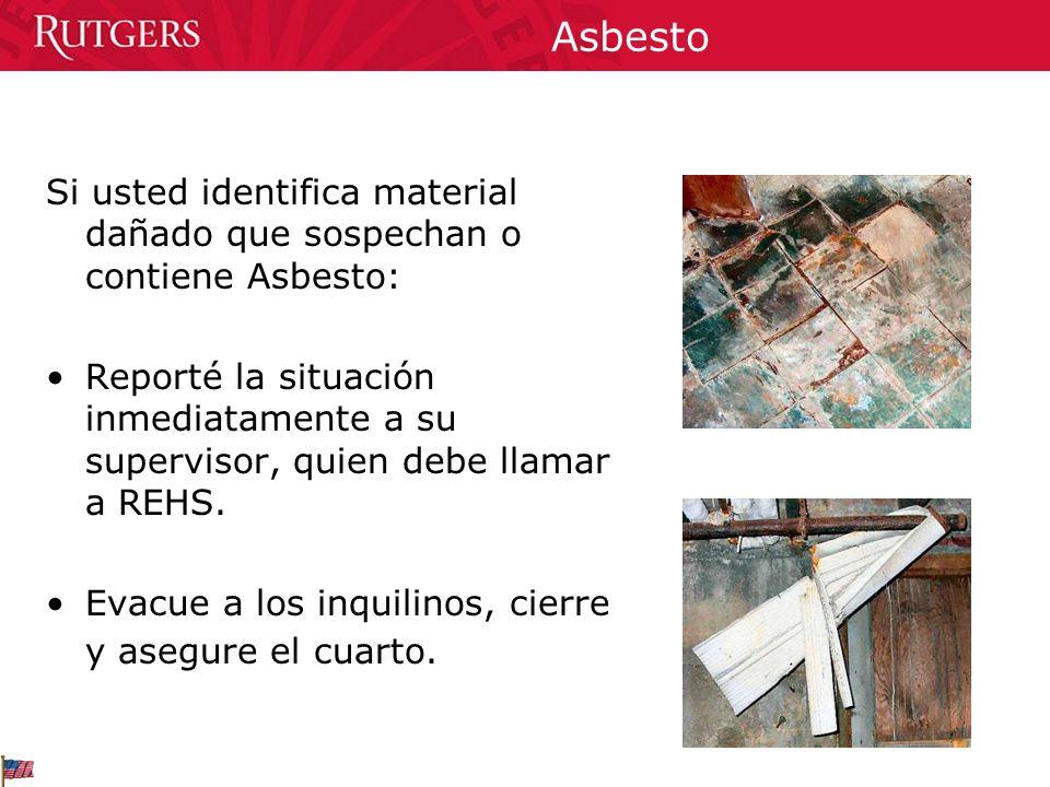 Asbesto Si usted identifica material dañado que sospechan o contiene Asbesto: Reporté la situación inmediatamente a su supervisor, quien debe llamar a