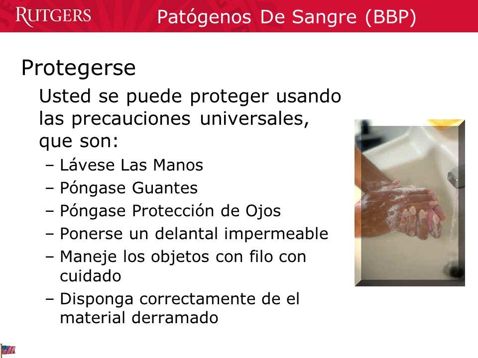 Patógenos De Sangre (BBP) Protegerse Usted se puede proteger usando las precauciones universales, que son: –Lávese Las Manos –Póngase Guantes –Póngase