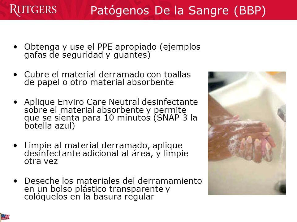 Patógenos De la Sangre (BBP) Obtenga y use el PPE apropiado (ejemplos gafas de seguridad y guantes) Cubre el material derramado con toallas de papel o