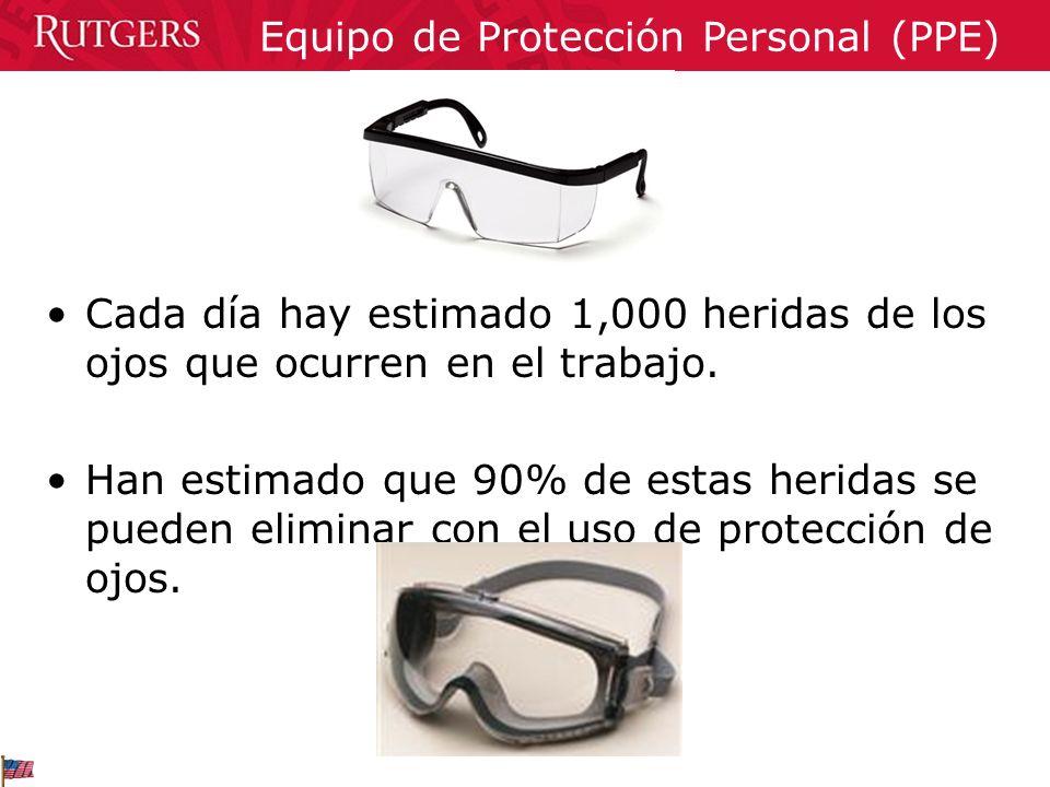 Cada día hay estimado 1,000 heridas de los ojos que ocurren en el trabajo. Han estimado que 90% de estas heridas se pueden eliminar con el uso de prot